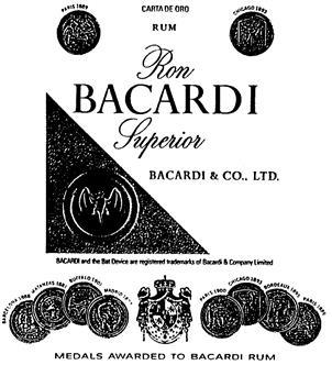 Товарный знак №167626 RON BACARDI SUPERIOR BACARDI CO LTD CARTA DE ORO RUM