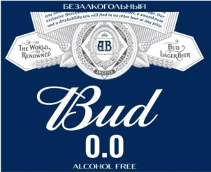 Товарный знак №755410 AB BUD 0.0 ALCOHOL FREE БЕЗАЛКОГОЛЬНОЕ THE WORLD RENOWNED BUD LAGER BEER EUROPA ASIA AMERICA AFRICA AUSTRALIA OUR EXCLUSIVE BEECHWOOD A TASTE A SMOOTHNESS AND A DRINKABILITY YOU WILL FIND IN NO OTHER BEER AT ANY PRICE